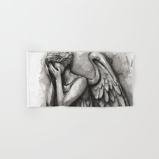 Weeping Angel Watercolor Doctor Who Art Hand & Bath Towel