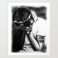 cyrilliart Art Prints featuring Charcoal Harry by Cyrilliart