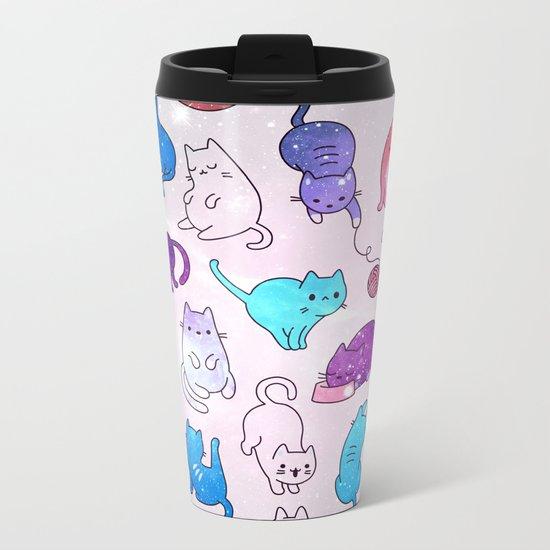 Space Cats Pattern Metal Travel Mug
