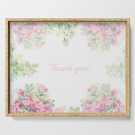 Thank you quote & Rose flowers Serving Tray