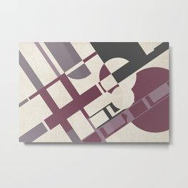 Space Probe Abstract in Mulberry, Aubergine, Mauve and Grey Metal Print