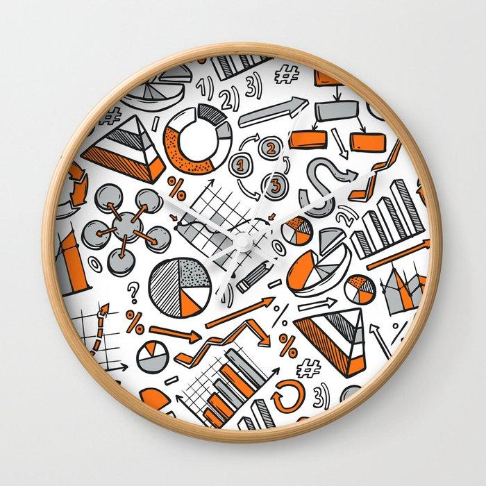 Charts Sketch Seamless Pattern Wall Clock