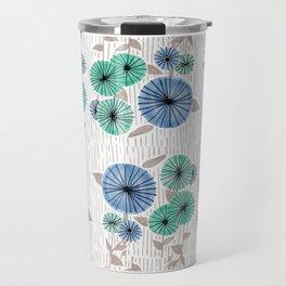 Blue & Green Flower Pattern Travel Mug