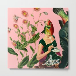 fish soul mate pink #collage Metal Print