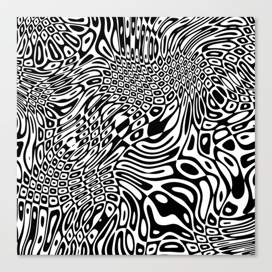 Black and white psychedelic optical illusion Canvas Print