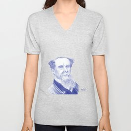 Charles Dickens Portrait In Blue Bic Ink Unisex V-Neck