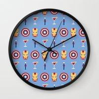 superheroes Wall Clocks featuring Superheroes by Kelslk