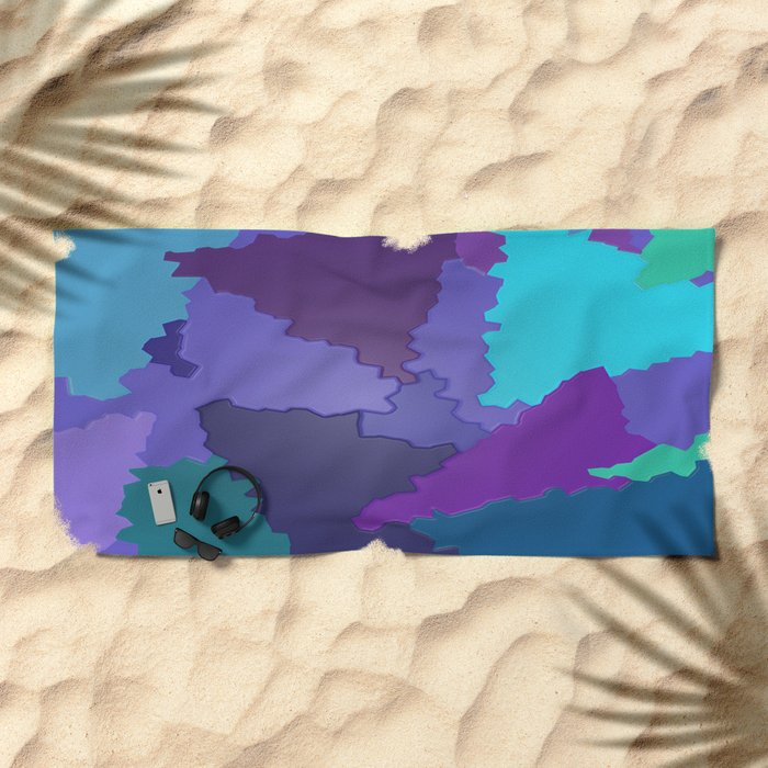 Blues and Purples Puzzle Patchwork Beach Towel