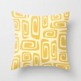 Mid Century Modern Cosmic Abstract 515 Yellow On Yellow Throw Pillow