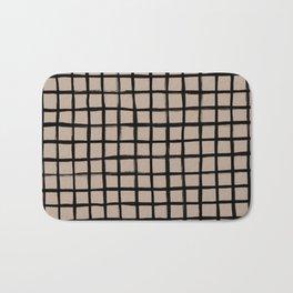 Strokes Grid - Black on Nude Bath Mat