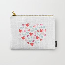 Valentines Day Heart #8 - Glasses, Diamonds, Kisses Carry-All Pouch