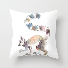 Splotchy Lemur Throw Pillow