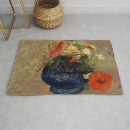"""Odilon Redon """"Flowers in a Blue Cup (Fleurs dans une coupe bleue)"""" Rug"""