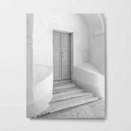 The Grey Door | Monochrome Entrance | Metal Print