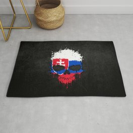 Flag of Slovakia on a Chaotic Splatter Skull Rug
