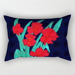 Red flowers gladiolus art nouveau style Rectangular Pillow