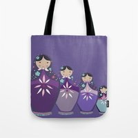 russian Tote Bags featuring RUSSIAN DOLLS by Monika Strigel