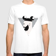 Beard01 White SMALL Mens Fitted Tee