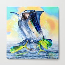 Jumpimg blue Marlin Chasing Bull Dolphins Metal Print