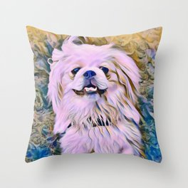 pekingese at the park Throw Pillow