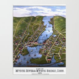 MYSTIC RIVER CONNECTICUT city old map Father Day art print Poster