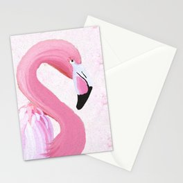 PINK FLAMINGO AND ORCHID OIL PAINTING Stationery Cards