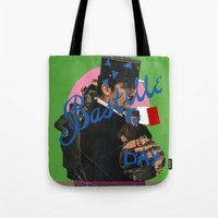 bastille Tote Bags featuring bastille day by crayon dreamer