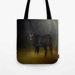 Black Angus Calf In The Moonlight Tote Bag