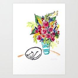 Sleeping cat next to a vase of roses Art Print