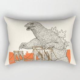 Godzilla vs. the Brooklyn Bridge Rectangular Pillow
