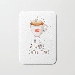 watercolor illy coffee Bath Mat