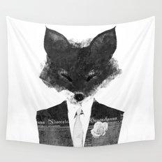 minima - dapper fox | noir Wall Tapestry