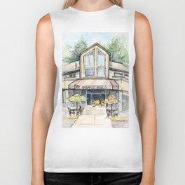 Coffee Shop Art Urban City Watercolor Biker Tank