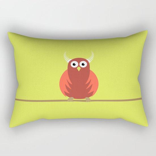 Red Cartoon Horned Owl Rectangular Pillow