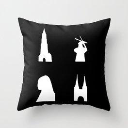 Delft silhouette on black Throw Pillow