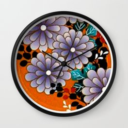 Japanese Circle 4 Chrysanthemum Flower Wall Clock
