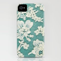 white lace - photo of vintage white lace iPhone (4, 4s) Slim Case