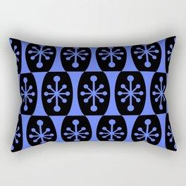 Mid Century Modern Atomic Fusion Pattern 334 Black and Blue Rectangular Pillow