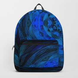Blue Kaleidoscope, Floral, Pattern, Mandala, Fractal, Abstract, Alchemy, Oriental Backpack