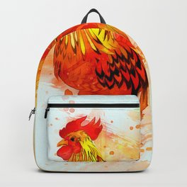 Rooster Painting Backpack