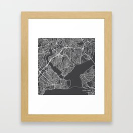 Istanbul Map, Turkey - Gray Framed Art Print