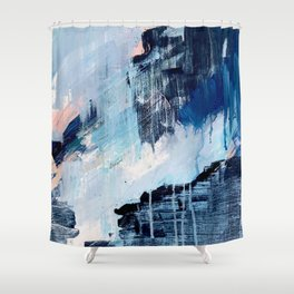Vibes: an abstract mixed media piece in blues and pinks by Alyssa Hamilton Art Shower Curtain