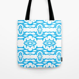 Stalagmite - Tiling Symmetrical Abstract in Blue and White Tote Bag