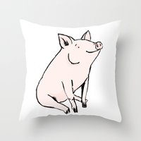 pig Throw Pillows featuring Pig by Emily Stalley