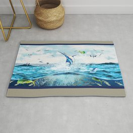 Blue Marlin hunting Mahi Mahi Rug