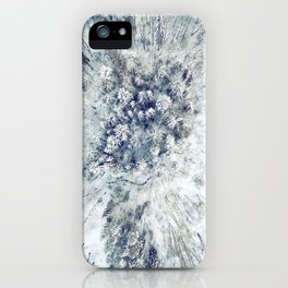 AERIAL. Frozen forest in winter iPhone Case