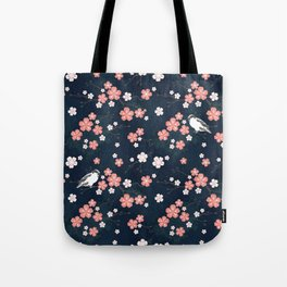 Navy blue cherry blossom finch Tote Bag
