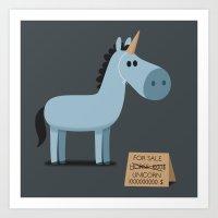 unicorn Art Prints featuring Unicorn by Jean-Sébastien  Deheeger