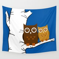owls Wall Tapestries featuring Owls by joanfriends