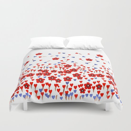 Flowers and Hearts Duvet Cover